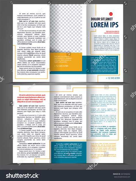trifold design template empty vector empty trifold brochure print template stock vector