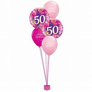 Pink 50th Birthday Balloon Bouquet Party Fever