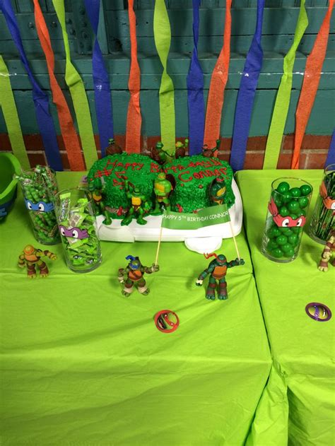 ninja turtle cake and decorations boys party ideas