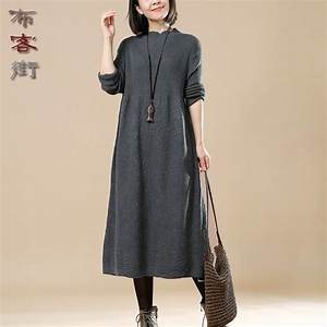 women autumn winter sweater knitted dresses slim With buykud robes