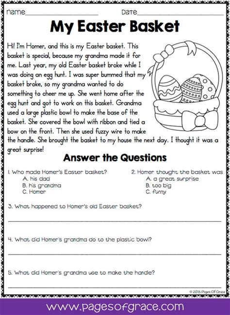 reading comprehension passages and questions for april k