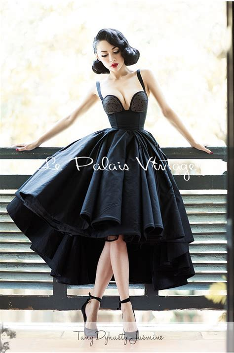 Retro Dress Black Tuxedo Dress Ball Gown Vintage Prom