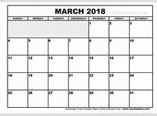 March 2018 Calendar PDF calendar printable free