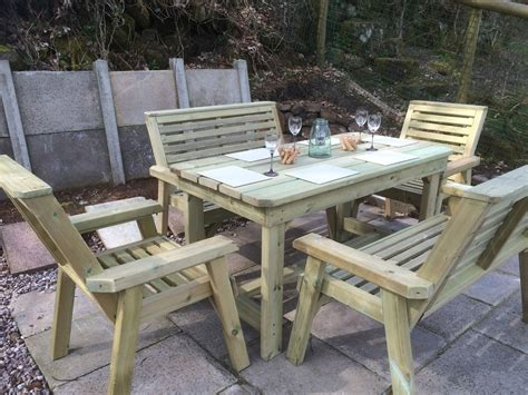 Garden Table Chairs by Churnet Outdoor Dining Set Sits Six
