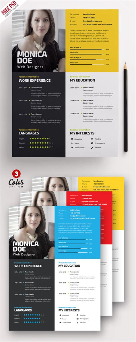 Cool Resume Psd by Creative Resume Template Psd Bundle Psdfreebies