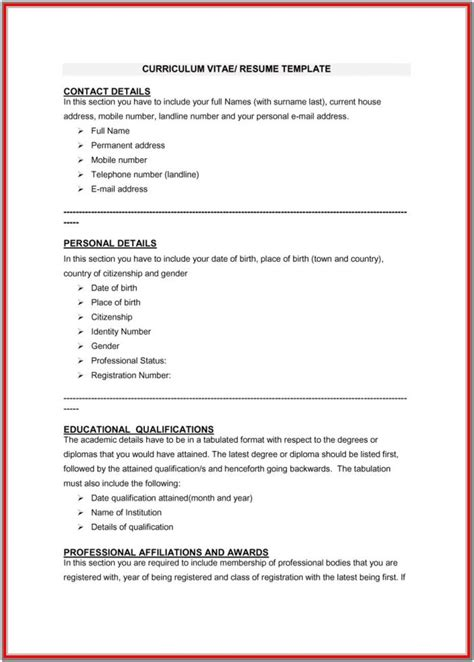 Resume Vitae Template by Blank Curriculum Vitae Format For Students Resume