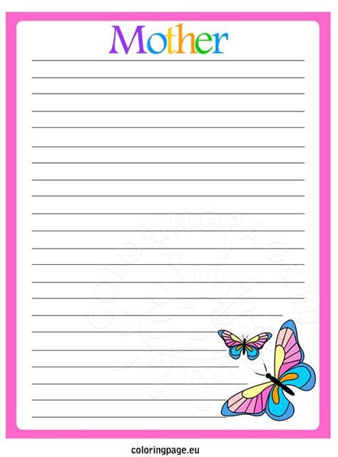 mothers day writing paper butterflies coloring page