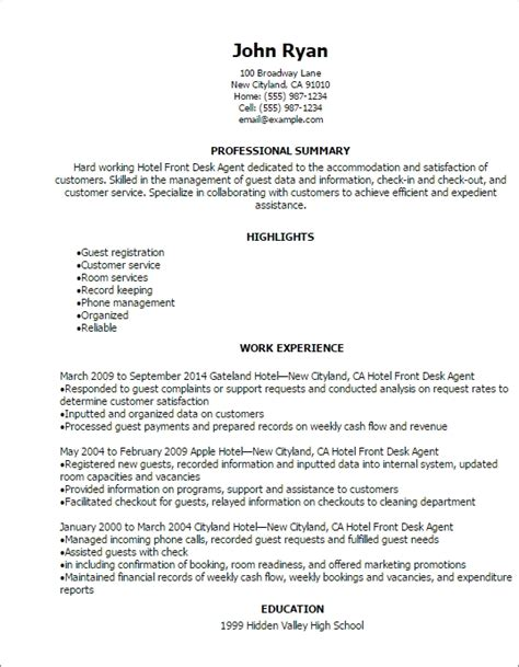 Resume For Front Desk Position At Hotel by Front Desk Resume Sle Jennywashere