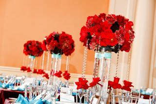 tiffany blue and red wedding centerpieces decor cor