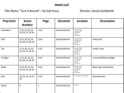 conflict list template theatre props list