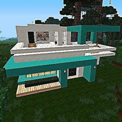 minecraft quartz house cyan quartz modern house minecraft project