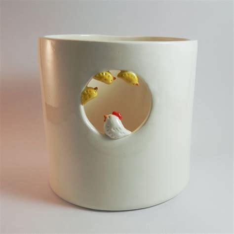 pot de cuisine pot à ustensiles poule et poussins