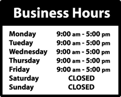 business hours template business hours az sign shop