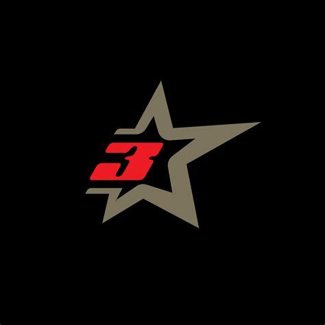 number  logo template  star design element