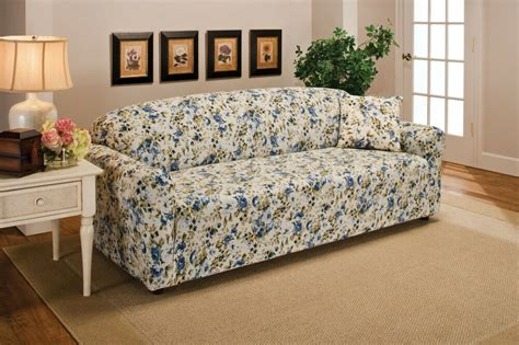 Patterned Loveseat by Blue Floral Flower Jersey Sofa Stretch Slipcover