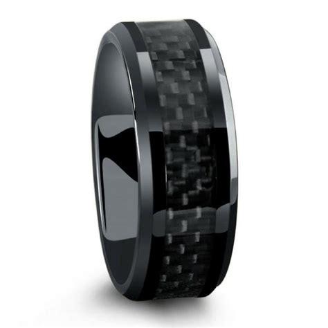 black titanium ring mens wedding band  carbon