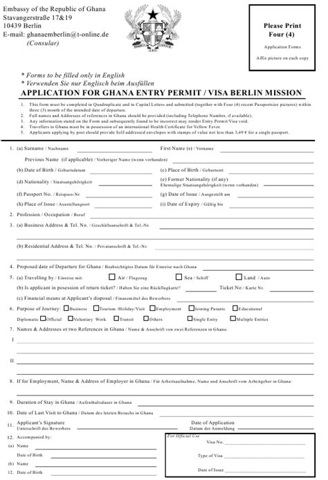 Berlin Germany Application for Ghana Entry Permit / Visa Berlin Mission - Embassy of the
