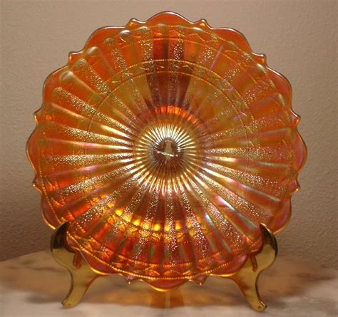 carnival glass value fenton carnival glass stippled rays with scale band marigold 7 quot plate ebay