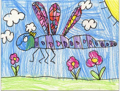 draw  dragonfly art projects  kids