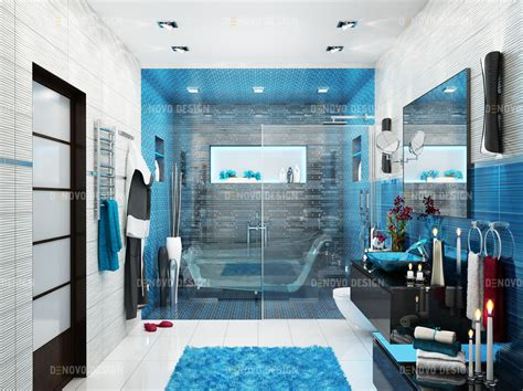 ocean blue master bathroom denovo design toronto