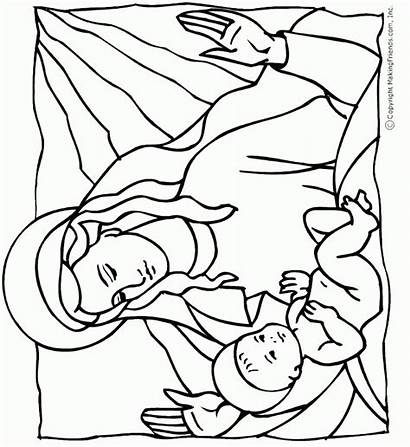 Jesus Coloring Pages Birth Bible Mary Mother