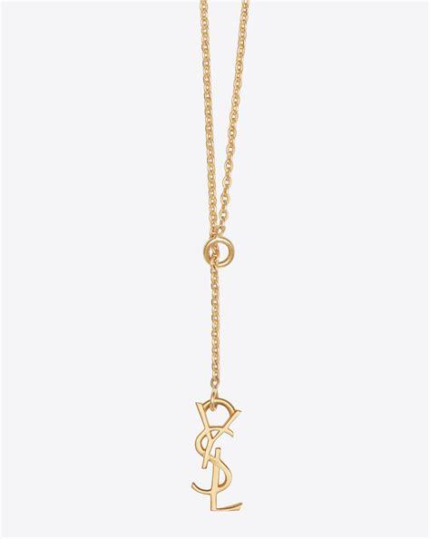 st polos laurent monogram thin tie necklace in gold vermeil
