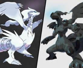 zekrom and reshiram legendary pokemon black and white artwork lets play 1024x841