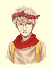 Anime Boy with Flower Crown Drawing