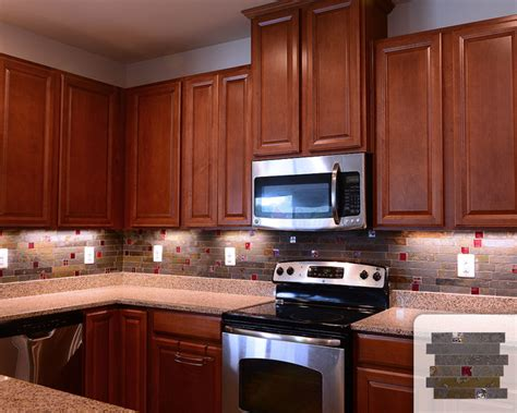 Red Tile Backsplash : Rusty Slate Subway Mosaic Red Glass Kitchen Backsplash