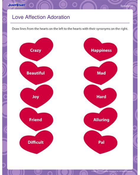 love affection adoration view  synonyms worksheet