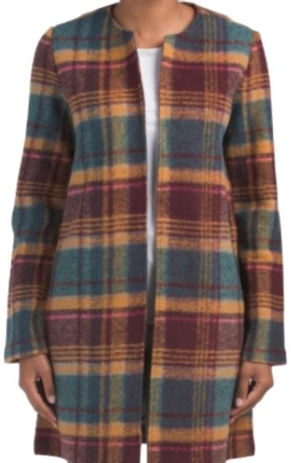 rachel zoe wool retro plaid coat size   tradesy