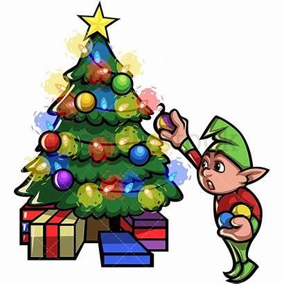 Christmas Tree Cartoon Decorating Elf Clipart Vector