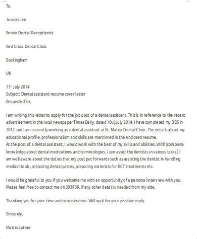 sample dental assistant cover letter  examples  word