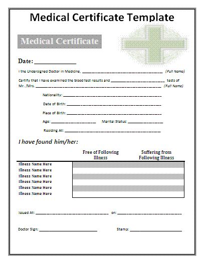 editable medical certificates gift certificate templates