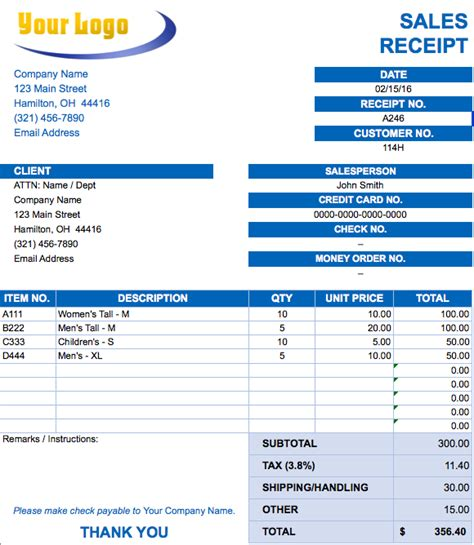 shipping sales invoice  ms excel  excel template