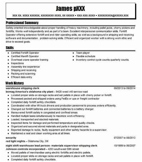 Shipping Clerk Resume by Warehouse Shipping Clerk Resume Sle Clerk Resumes