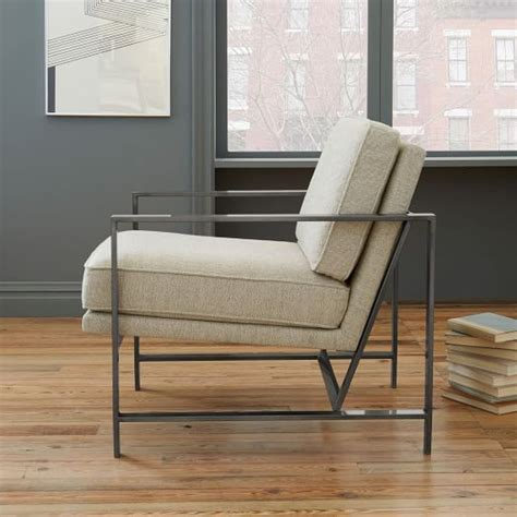 Modern Upholstered Living Room Chairs by Metal Frame Upholstered Chair Liston Formal Living Room