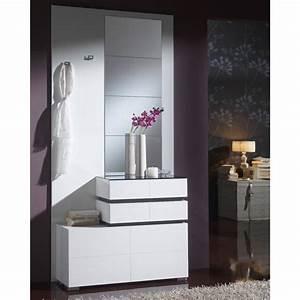 meuble d39entree blanc miroirs vana taille l 96 x With meuble d entree blanc