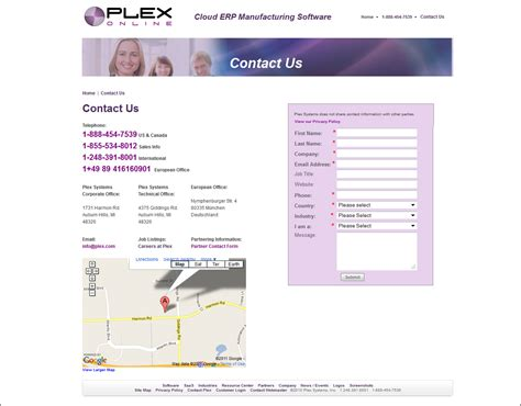 contact us page study plex systems user research for site redesign teced