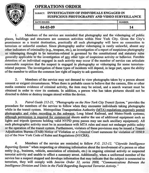 nypd memo reminds police officers  photography