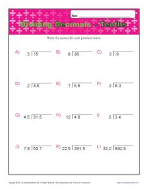 dividing decimals worksheet common kidz activities