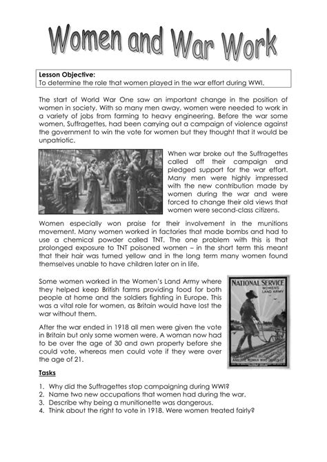 women    world war worksheet ks lesson resource