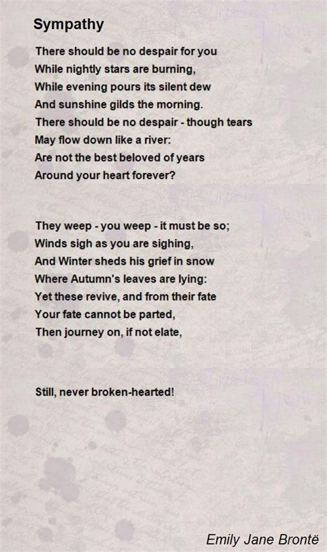 sympathy poem  emily jane bronte poem hunter