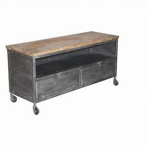 Meuble Tv Petit : petit meuble tv industriel sur roulettes m tal sur cdc design ~ Teatrodelosmanantiales.com Idées de Décoration