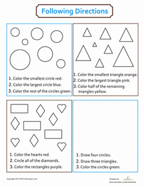 following directions coloring learning shapes shapes