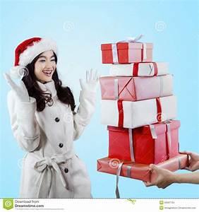 Joyful Girl Receive Christmas Gift Stock Photo - Image ...