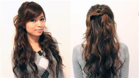 easy holiday curly half updo hairstyle for medium long
