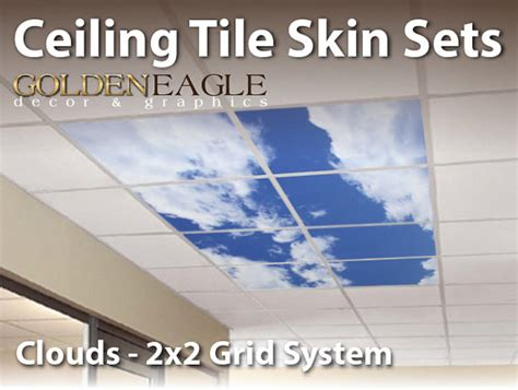 ceiling tile skin clouds kit 2x2 grid glue up decorative panel