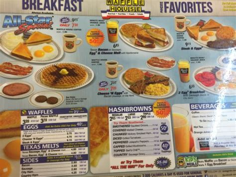Waffle House Breakfast Menu