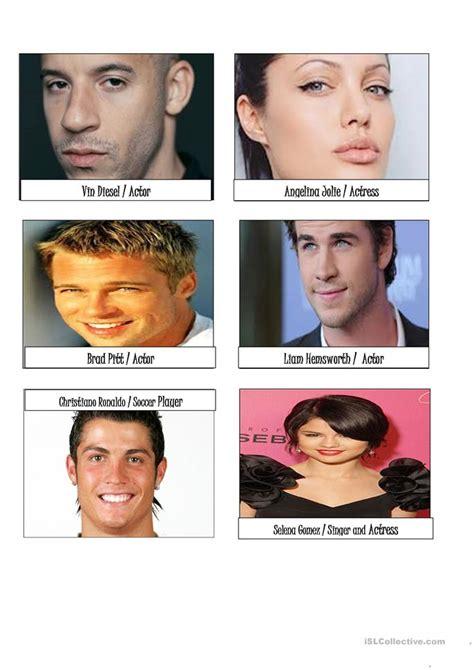 cards  describing famous people worksheet  esl
